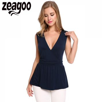 Zeagoo Women Crossing V-Neck Sleeveless Sequined Draped Hem T-Shirt Tops Fashion Tshirt Women Summer Clothes T Shirt Female Tops