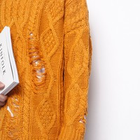 Cozy Destroyed Sweater | Orange