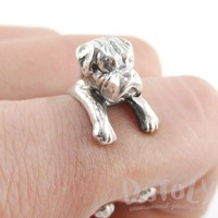 3D Boxer Dog Shaped Animal Wrap Ring in 925 Sterling Silver | Sizes 3 to 7