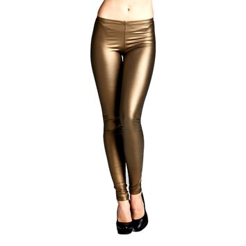 Pleather Fitted Legging, Gold