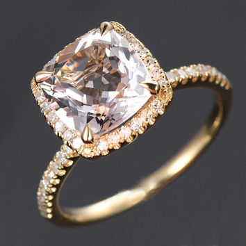 Limited Time Sale: 1.50 Carat Cushion Cut Peach Pink Morganite and Diamond Halo Engagement Ring in 10k Yellow Gold for Women on Sale