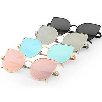 High Quality Fashion Cat Eye Sunglasses Women Metal Reflection Mirror Frame From Lens Sunglasses Glasses Classic Vintage Glassse