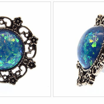Queen 's Plugs and Tunnels Ear Expanders Stainless Steel Blue Opal Filigree Ear Plug Body Piercing Jewelry 1 Pair -03130
