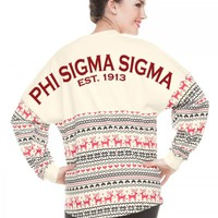 Phi Sigma Sigma, Est. 1913 - Ugly Christmas Sweater Spirit Jersey with All-Over Holiday Print