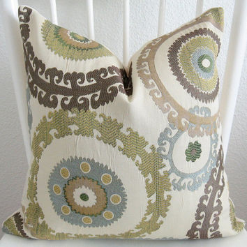 Decorative pillow cover - 20x20 - Cream - Light blue - Taupe - Brown - Green - Throw pillow- Suzani pillow