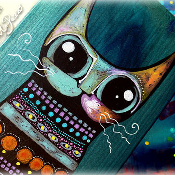 Colorful Cat on wooden board,cat decor,wall decor,outsider art,pet lovers gift