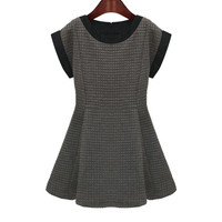 Gray Short Sleeve High-Waisted Skater Dress