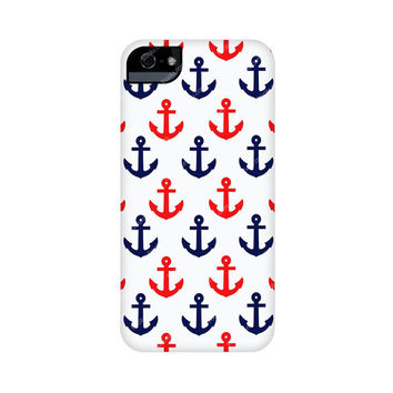 Iphone 5s case, Iphone 5c case, Iphone 5 case, Navy Anchor Iphone case, Tough Iphone case, Snap On iphone case,