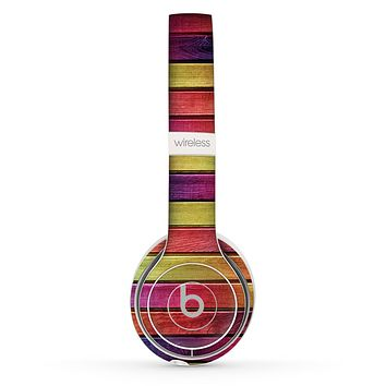 The Colorful Vivid Wood Planks Skin Set for the Beats by Dre Solo 2 Wireless Headphones
