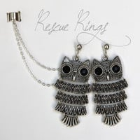 Owl Double Chain Ear Cuff Earrings