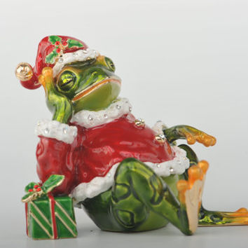 Christmas Frog with Presents Faberge Styled Trinket Box Handmade by Keren Kopal Enamel Painted Decorated with Swarovski Crystals