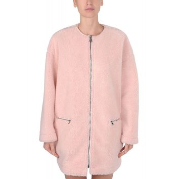 MSGM Light Pink Faux Shearling Coat - Oversized Faux Fur Coat - ShopBAZAAR