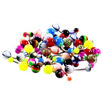 100Pcs/Lot Mixed Color Belly Button Rings Body Piercing Jewelry for Cute Womens Surgical Steel Pircing 1.6mm Navel Body Ringen