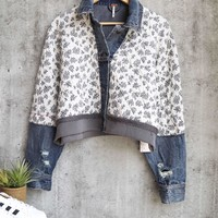 free people - Quilted Ditsy Denim Jean Jacket - blue
