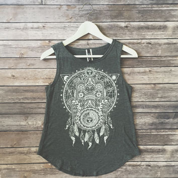 Hamsa Dream Catcher Tank (Gray)