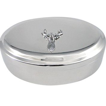Silver Toned Textured Stag Deer Head Pendant Oval Trinket Jewelry Box