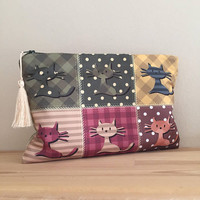 Cat Clutch-Cat Handbag-Cute Cat Bag-with Cats-Cat Lovers