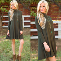 Randi Shift Dress - Olive