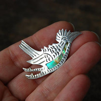 Vintage Sterling Silver Abalone Brooch Roadrunner Bird Melecio Rodriguez Margot de Taxco Mexico Figural Mid Century 1950's / Vintage Jewelry