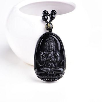 DCCKU62 High Quality Unique Natural Black Obsidian Carved Buddha Lucky Amulet Pendant Necklace For Women Men pendants  Jewelry