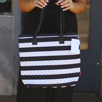 Black & White Striped Quilted Tote