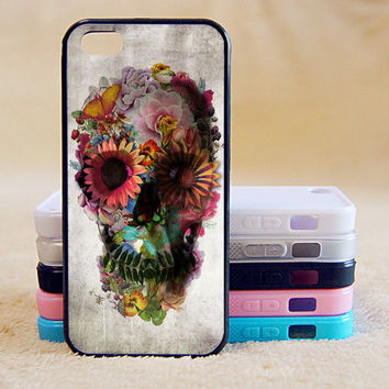Floral Skull, Flower, Custom Case, iPhone 4/4s/5/5s/5C, Samsung Galaxy S2/S3/S4/S5/Note 2/3, Htc One S/M7/M8, Moto G/X