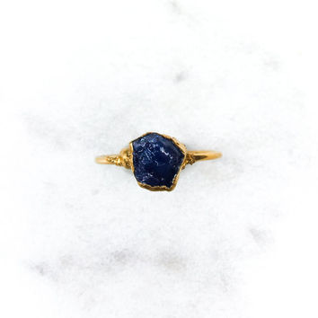 Raw Sapphire Ring, September Birthstone, Gold Sapphire Ring,  Stacking Ring, Engagement, Rough Sapphire Ring, Electroformed Ring RINGCRUSH