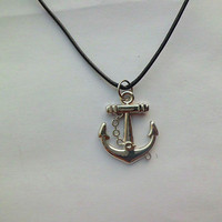 Antique Silver Necklace--Steampunk Anchor and Rudder Necklace Fashion Jewelry