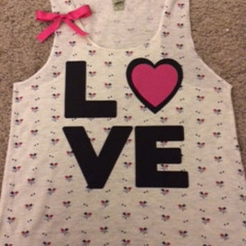 Floral LOVE Tank - Ruffles with Love - Bow Tank - LOVE Symbol Tank