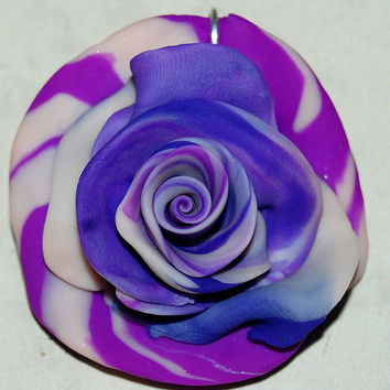 Rose Pendant, Polymer Art Pendant, Purple Swirly Rose, Tie Dye Style Rose , approx. 2 inches