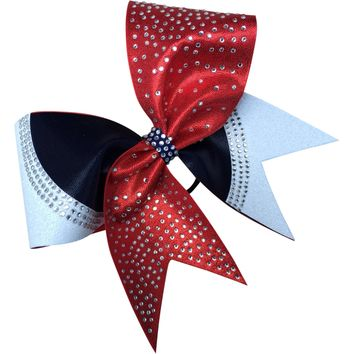 Red,navy and white glitter with rhinestones bow