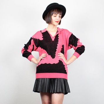 Vintage 80s Sweater Black Pink Abstract Print Jumper Cosby Sweater New Wave 1980s Pullover Slouchy Neon Hot Pink Mod Knit Jumper S M Medium