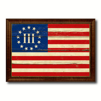 3 Percent Betsy Ross Nyberg Battle III Revolutionary War Military Flag Vintage Canvas Print with Brown Picture Frame Gifts Ideas Home Decor Wall Art Decoration