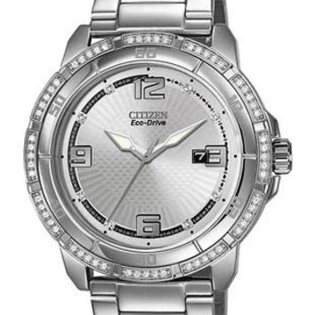 Citizen DRIVE POV 4.0 Unisex Crystal Watch - Silver-Tone Dial - Stainless Steel