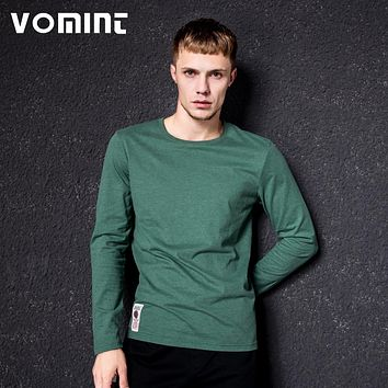 New Solid T-Shirt Men Long Sleeve T-shirt Cotton Multi Pure Color Fancy Yarns Washing Tee Shirt