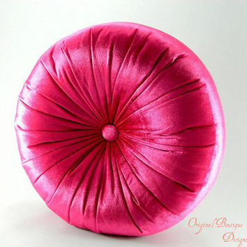 Cyclamen silk velvet round pillow 16 by originalboutique on Etsy