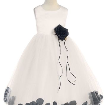(Sale) Girls Size 5/6 Ivory Satin & Tulle Floating Flower Petals Dress with Black Petals