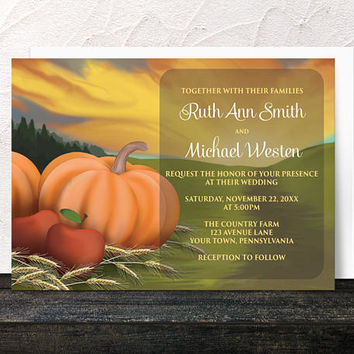 Autumn Harvest Wedding Invitations - Rustic Country Orange Pumpkin Red Apples and Hay - Farm or Fields - Printed Invitations
