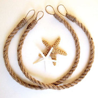 TWO Rope Curtain Tie Backs Jute tie back Natural Nautical Beach Decor Tropical Island Seaside Ocean Sea Decor Lake House window treatment