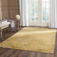 Safavieh Porcello Contemporary Geometric Light Grey/ Yellow Rug (8'2 x 11') | Overstock.com Shopping - The Best Deals on 7x9 - 10x14 Rugs