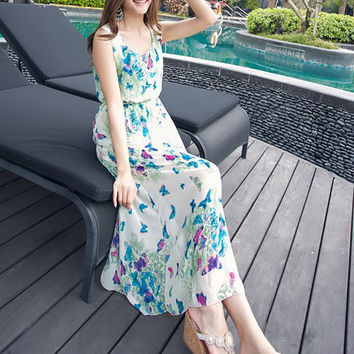 Green Bohemian Butterfly Print Chiffon Sleeveless Blouson Maxi Dress