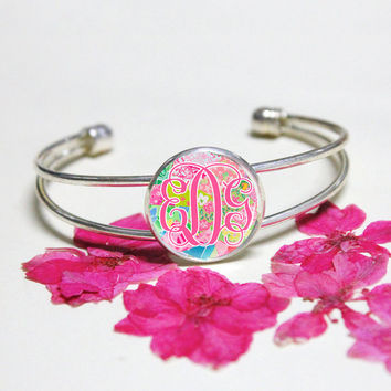 Pink Monogram silver bracelet,Lilly Pulitzer monogram bracelet,Floral Custom initials cuff bracelet,silver bangle,bridesmaid wedding jewelry
