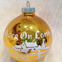 Vintage Yellow Gold Shiny Brite Ornament