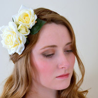 Floral crown flower crown rose crown headband wreath ivory/cream festival - 'Fiona'