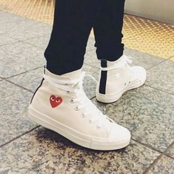 Converse Play Fashion Loving Heart Reflective Sneakers High Top With Low Top Sport Sho
