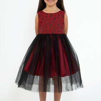 Girls Red Floral Jacquard Dress w. Black Tulle Skirt 2T-12 & Plus 14x-20x