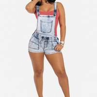 2-In-1 High Waisted Acid Wash Shorts With Elastic Waist And Overall Shorts