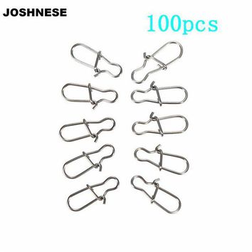 ONETOW 100PCS 00#//0#/1#/2#/4#/5#/6# Size Safety Snaps Fishing Swivel Hook Connector Stainless Steel Hook Lock Snap Swivels Solid Rings