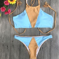 Mixed Color Split Swimsuit Triangle Bikini