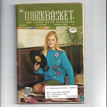 WorkBasket & Home Arts Magazine, October 1969, Home Knitting, Crochet, Sewing, Needle Work Book, Tatting, Recipes, Quilting, Vintage Crafts